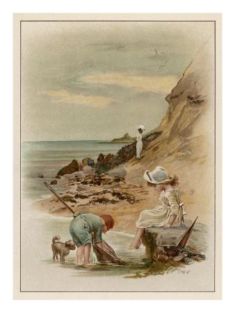 Children at the Seaside, Fishing in a Pool on the Beach