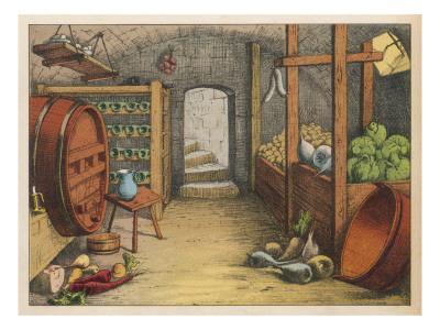Cellar with Vegetables, Wine Racks and Beer Barrel