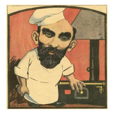 Caricature of Henri Landru, a Serial Killer Who Became known as the Modern Bluebeard of France