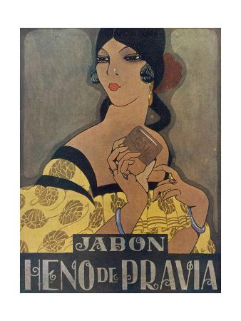 Elegant Spanish Woman in an Advertisement for Heno De Pravia Soap