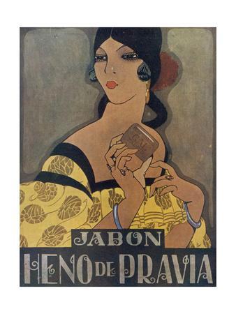 Elegant Spanish Woman in an Advertisement for Heno De Pravia Soap