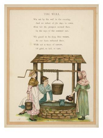 England : Country Girls Gossiping at the Village Well