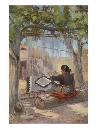 Elle of Ganado, New Mexico, of the Navaho People, Weaves a Blanket in the Traditional Manner