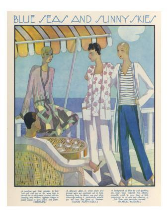 Fashionable Ladies Dressed for a Seaside Holiday