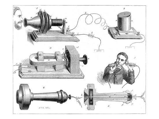 Engraving Diagram Showing Alexander Graham Bells Telephone