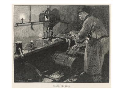 Filling the Beer Kegs in an American Brewery