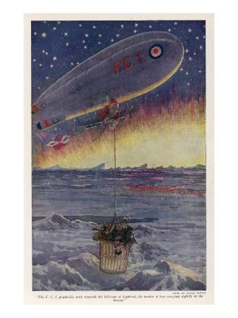 Father Christmas Uses an Airship to Deliver Presents