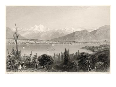 General View of Geneva and Lake Leman (From Opposite the Villa of Lord Byron at Coligny)