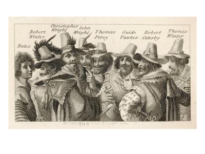 Guy Fawkes - English Gunpowder Plotter with Fellow Conspirators