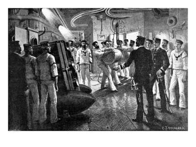 Gun Drill on Board a British Battleship, 1896