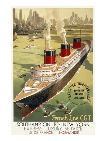 French Line Cgt Poster