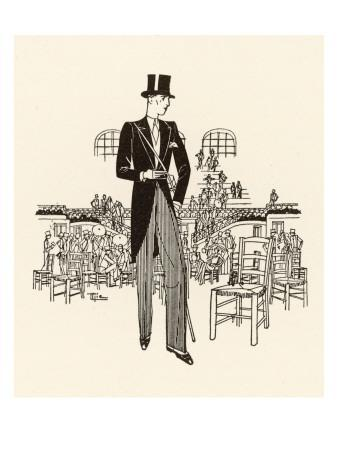 Formal Wear: Morning Suit with Top Hat, Cane and Spats