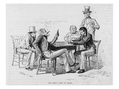 Four Men Sit around a Table Playing Poker While a Fifth Stands Watching the Game and Smoking