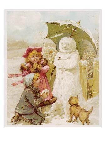 Winter Snowman 1890