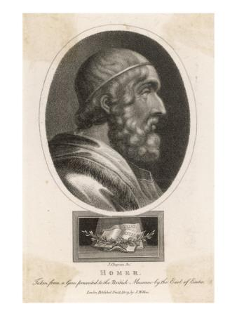 Homer Blind Greek Poet With The Iliad And The Odyssey Below Giclee Print Allposters Com