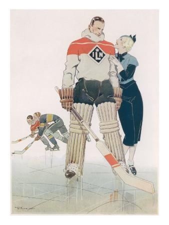 Illustration Showing a Muscular Ice Hockey Player with His Doting Girlfriend