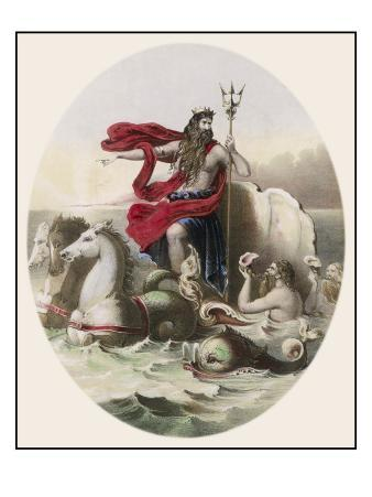 Riding the Waves in His Horse- Drawn Chariot, Saluted by Tritons as He Passes