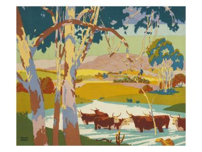 Poster for the Empire Marketing Board, Depicting Cattle Raising in Australia