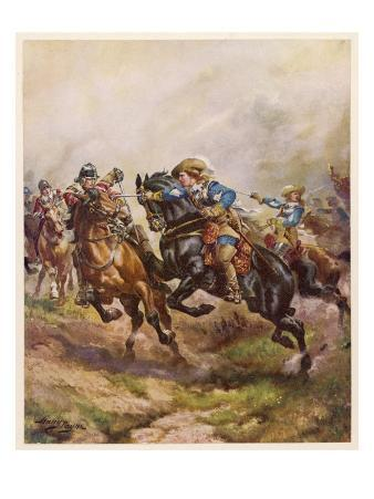Prince Rupert of the Rhine Leads a Cavary Charge at the Battle of Edgehill