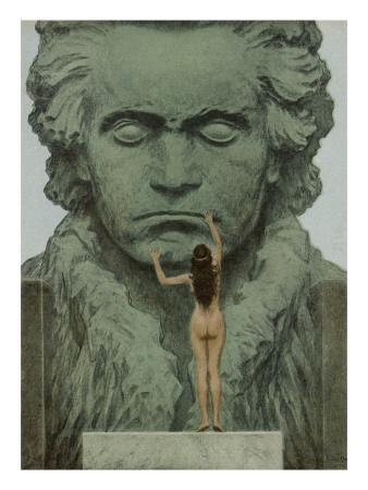 Ludwig Van Beethoven a Statue of Beethoven Is Caressed by a Naked Woman