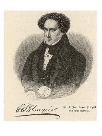 Karl Jonas Ludwig Almquist Swedish Writer with His Autograph