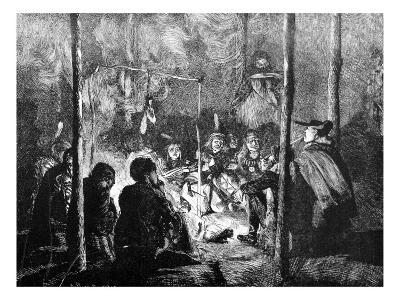 Pawnee Indians around a Camp Fire