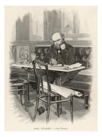 Paul Verlaine French Writer Writing at a Cafe Table