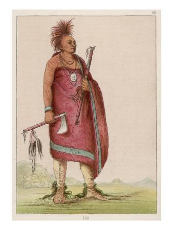 Osage Chief Carrying a Pipe and a Tomahawk