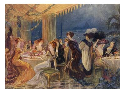 People Enjoy the Evening in a Paris Restaurant