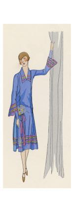 She Wears a Creation by Paul Poiret, in Blue Satin Garnished with Silver