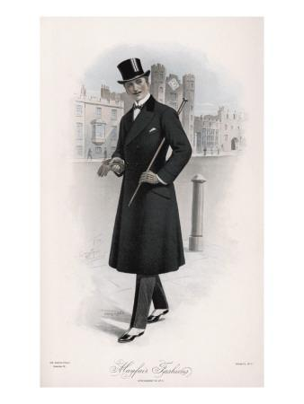 Shifty-Looking Gentleman Wears a Double-Breasted Waisted Overcoat