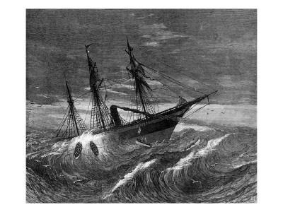 The Emigration Ship, the Hibernia Floundering 700 Miles From the Irish Coast