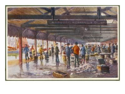 The Fish Market at Lowestoft Where Fishermen Land their Catch