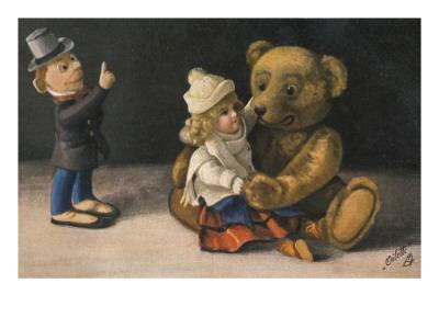 Teddy and Two Dolls