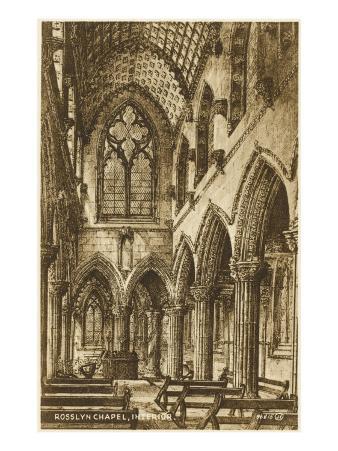 The Interior of Rosslyn Chapel, Roslin, Midlothian, Scotland