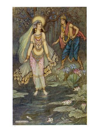 The Encounter Between Shantanu and Ganga, the Goddess Who Personifies the Ganges River