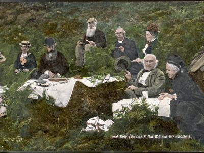 William Ewart Gladstone and His Wife Picnicking with Friends