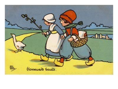 Two Dutch Children Wearing Traditional Costume Chase a Goose Home