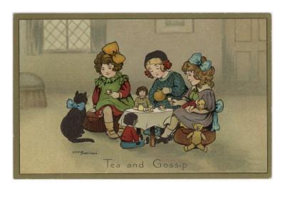 Three Little Girls Having a Tea Party with their Dolls and Cat