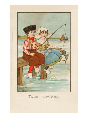 Two Dutch Children Sit on a Pier and Fish as Ships Sail in the Distance
