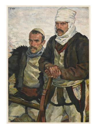 Two Albanian Soldiers Fighting the Austrians During World War One