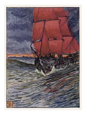 The Red-Sailed Ship of the Flying Dutchman