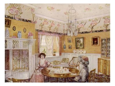 Two Women Take a Leisurely Afternoon Tea in a Prettily Decorated Room