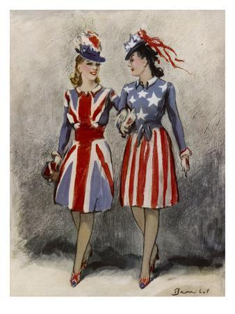 Two Women, One British, One American, Wearing Suitably Patriotic Outfits