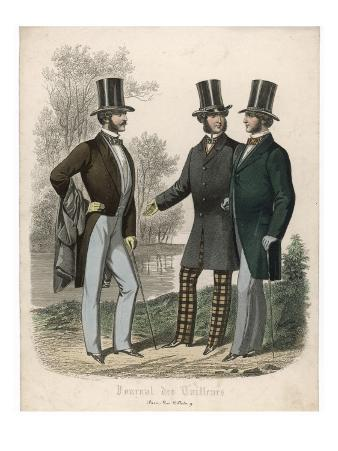 Three Gentlemen Meet and Talk in a Park