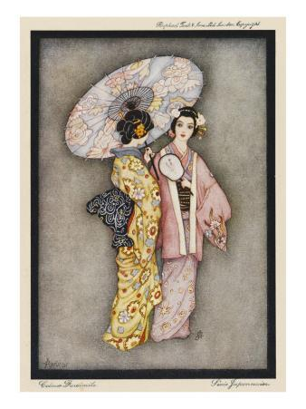 Two Japanese Geisha Girls, One Holding a Parasol