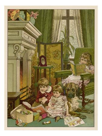 Three Children and a Dog Read their Books