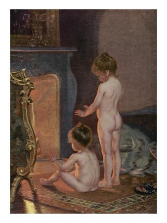 Two Children Warm Themselves at the Fireside after their Bath