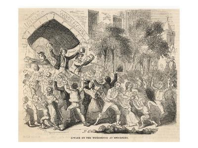 The Workhouse at Stockport, Lancashire, Is Attacked; Bread Is Handed Out to the Rioters