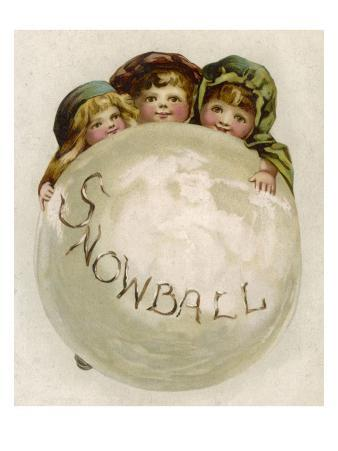 Three Children with a Very Large Snowball